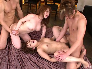 Asian sluts share and swap dicks in crazy home foursome