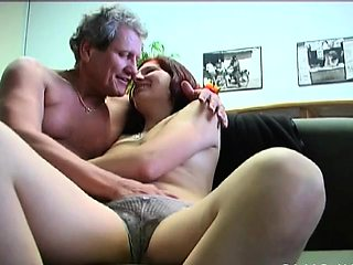 Breathtaking old and youthful act with babe seducing daddy