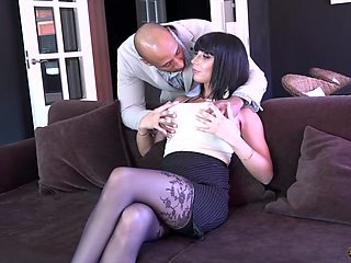 Giant breasted whore in black tights Valentina Ricci loves sideways fuck