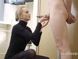 Amazing handjob, triple cumshot and huge facial