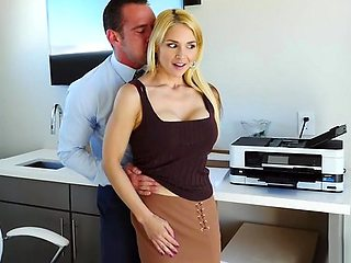 Blonde Secretary in office substitutes ass for anal sex...