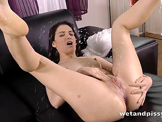 Gorgeous and hot beauty is happy to go solo while pissing on her own