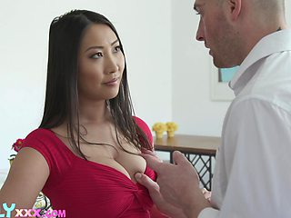 Attractive Asian brunette Sharon Lee uses her boobies for nice titjob