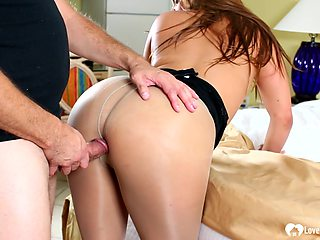 Gorgeous babe gives him an amazing blowjob