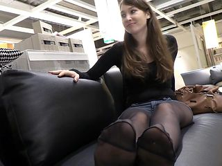 Pantyhose Teen Girl Tease Her Sexy Feet and Soles at Public Shop