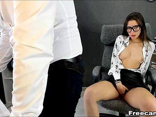 Cute Chick Masturbates with Her Office Mate