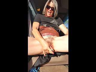 Amateur MILF Piss in Car With Vibrator