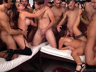 Lot of naked dudes stand in line to fuck Malena & Martina Smeraldi