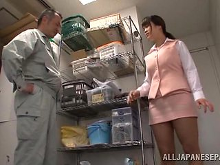 Nude busty Japanese chick gets her hands on the janitor's cock