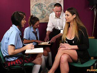 Schoolgirls share and swap dick in crazy CFNM XXX play