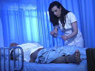 Ardent brunette nurse Casey Calvert bows and sucks strong cock dry