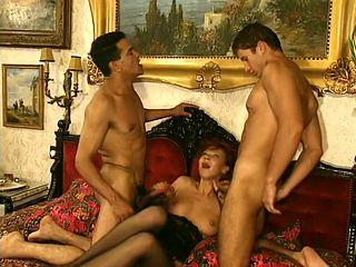 tender, romantic scene of redhead slurping down jizz