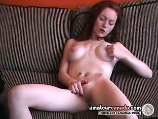 Scottish redhead fingers pierced pussy in my house