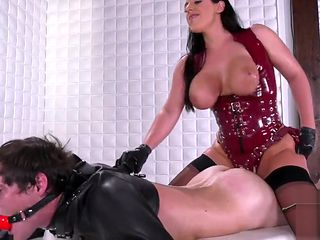 Dominatrix Angela White uses and abuses her submissive man