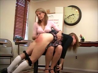 Katie Pxe Powers Is Spanked By Amber Pixie Wells For Smoking At School