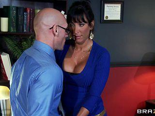 brunette slut with big tits is sucking huge cock