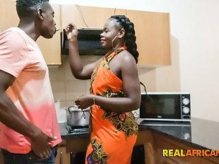 Ebony Amateur Fucked Hard In Kitchen