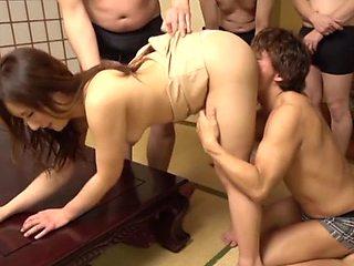 Japan babe gangbang fucked and made swallow