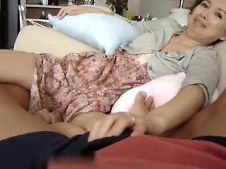 Chinese Wife playing footsie showing wet crack