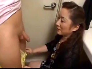 Japanese Mature sucks younger