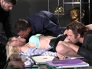 Blonde Czech secretary punished by sex with double penetration