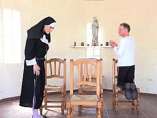 Grandpa is fucking a young nun in a chapel