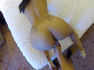 Hot brunette with round booty is receiving big shaft from behind