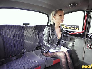 Pierced nipples blondie Isabella Deltore gets fucked by a taxi driver