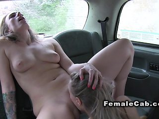 Lesbians making selfie after sex in cab