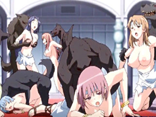 Hentai girls group monsters party sex