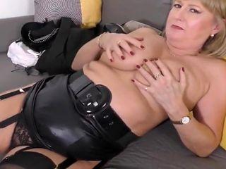 Cute UK Mature Slut Strips and Fucks Herself