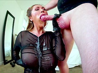 Gagged Asian mature swallows after a wild fuck
