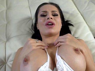 Stud captures in POV forbidden sex with brunette stepmom