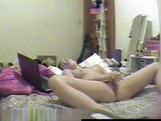 My slut sister masturbating caught by hidden cam