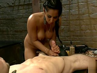 mistress in leather thigh high boots enjoys her boy toy