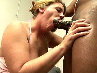 Blonde with big knockers gets poked interracially in her slit by hot guy