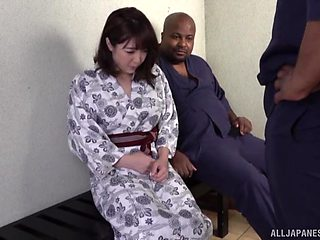 Natural tits Kanade Jiyuuspreads her legs for two black dicks
