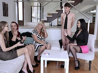 Always young Jasmine Jae shows off stepson's big cock to her best friends