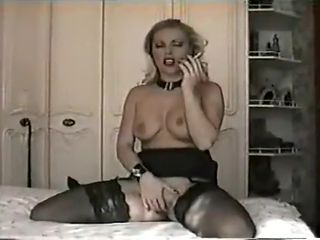 beautiful retro erotic smoking slut masturbates in nylons