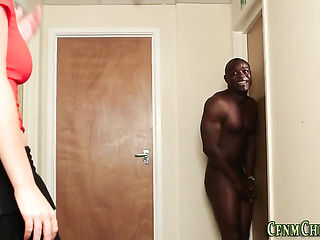 CFNM milf sucks black rod