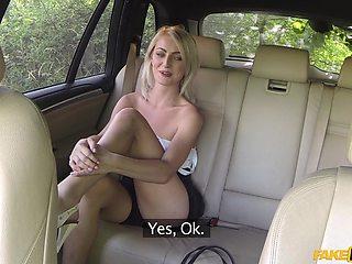 Blonde Katy Rose ridding a long stranger's pecker in the car