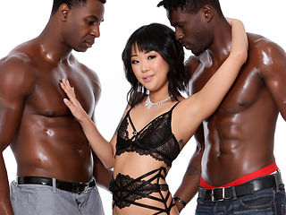 Saya Song Squirts During Double Penetration With Big Black Cocks