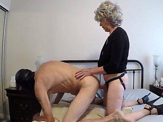 Grannyb Fucks A Gimp With A Strapon And More