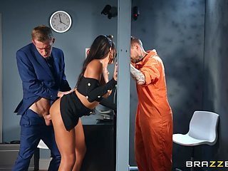 Inmate watches how his wife gets fucked by the lawyer