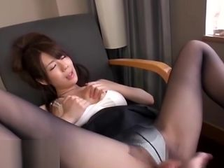 Hotel sex with beautiful japanese in black pantyhose