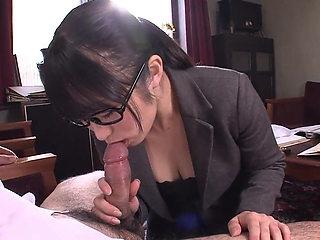 Office slut sucks and titty fucks guy's pole at work