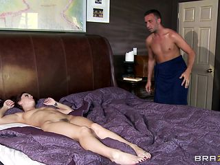 long hair brunette getting fucked in bed