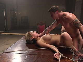 Tied blonde Deanna Dare is ready for the rough BDSM and sex toys