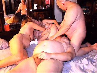 Lustful mature friends enjoying a wild bisexual experience