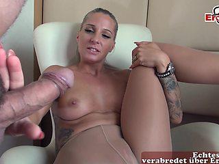 German blonde milf in nylon in pantyhose